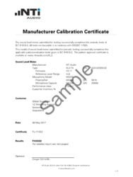 Individually numbered Calibration Certificate for new XL2 analyzer and microphone.